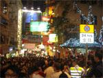 Busy streets of Lan Kwai Fong on Christmas eve