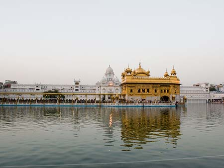 The Harmandir Sahib with clock tower in the background