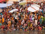 Many locals on the steps of the ghats bathing in the Ganga River