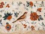 Painting of bird and flowers on walls of Hasht Behesht Palace
