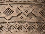Intricate brick mosaics cover the Arg of Karim Khan's exterior East tower