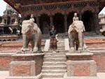 Sonya at the Vishwanath (Shiva) Temple with pair of elephants guarding the entrance